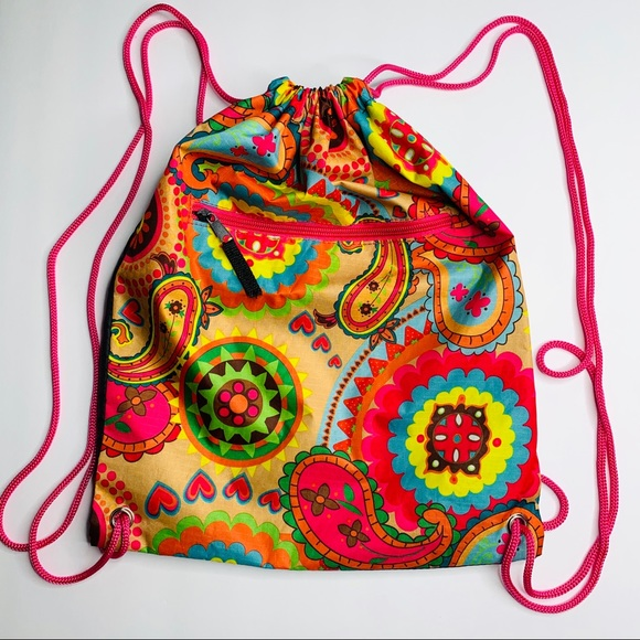 Other - Colorful Cinch Bag Backpack Pool Gym Camp School